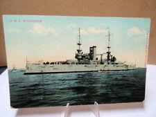 1907 Military Battleship Postcard USS Wisconsin