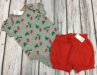 Baby Gap Girls 3-6 Months Outfit. Cherry Shirt & Red Bloomer Shorts. Nwt