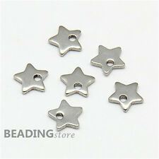 20pcs 304 Stainless Steel Five-pointed Cute Star Charms Small Pendants 6x6x1mm