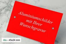 WARNSCHILD Hinweisschild Türschild - 45x24mm Alu rot eloxiert - mit WUNSCHGRAVUR