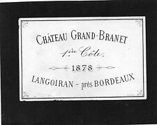 VIEILLE LITHOGRAPHIE CHATEAU GRAND BRANET 1878   §26/05/2016§