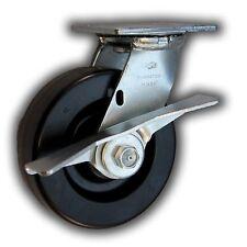 """6"""" x 2"""" Heavy Duty Swivel Caster w/ Phenolic Wheel & Side Brake 1200#"""
