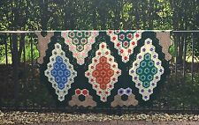 "VINTAGE GRANNY HAND KNIT AFGHAN BED COVER/THROW~ LARGE HEAVY~89""L x 84""W"