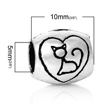 """Cat"" Engraved on Charm Bead Spacer for Snake Chain Charm Bracelets"
