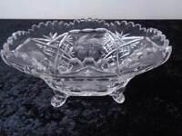 Design Verre Cristal Coquille avec Pieds - Vintage - Ampoule/Cerises/Fleurs