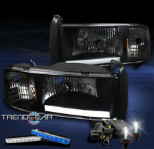 1994-2001 DODGE RAM LED BAR BLACK CRYSTAL HEAD LIGHT LAMP+BLUE DRL SIGNAL+6K HID