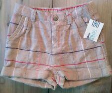 NWT Genuine Kids Oshkosh Tan Brown Pink Plaid Girls Cuffed Shorts Sz 18m