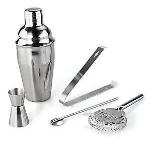 Stainless Steel Cocktail 550ml Shaker Jigger Mixer Bar Drink 5 Piece Set