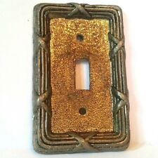 VTG Old BRASS Light Switch Plate Cover Metal Shabby Chic Wall Gold Tone EDMAR