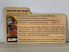 GI JOE GRAND SLAM FILE CARD Vintage Action Figure Straight Arm GREAT SHAPE 1982