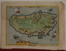 TERCEIRA AZORES PORTUGAL 1598 ORTELIUS ANTIQUE MINIATURE MAP ITALIAN EDITION