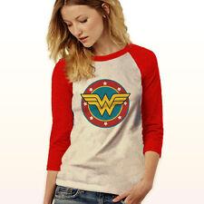 Wonder Woman Raglan Tee Baseball Jersey Womens Casual Pink Red Top XS-2XL