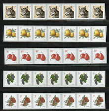 US PNC7 Bobcat, Apples, Pears, Grapes, and Strawberries Stamps, 5 strips