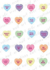 20 Nail Decals VALENTINE CANDY CONVERSATION HEARTS Water Slide Nail Art Decals