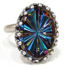 SoHo® Ring vintage altsilber bohemia 1960er Jahre bermuda blau grün changierend