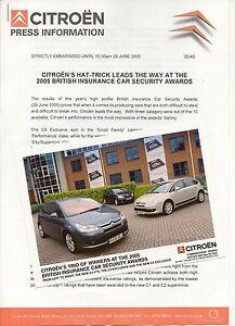 CITROEN C4 & C3 PRESS RELEASE 2005   *POST FREE UK *