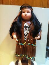 Porcelain Native American Doll-Tender Tears-Little Maiden~World Gallery-Afree Cd