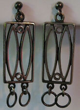 GREAT VINTAGE SCANDINAVIAN STERLING SILVER MODERNIST SHAPES DANGLE EARRINGS