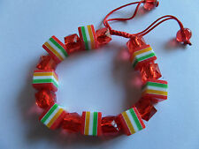 RED SWEETIE STRIPED ALL SORT BEAD CORD BRACELET new gift pouch