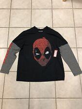 Marvel Deadpool Long Sleeve T Shirt Black Grey Size XL NWT