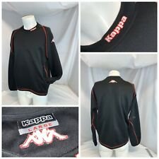 Kappa Athletic Sweatshirt Pullover L Men Black Poly Pockets Crew Ygi D0-383