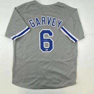 Autographed/Signed STEVE GARVEY Los Angeles Grey Baseball Jersey Beckett BAS COA