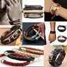 Leather Wrap Braided Handmade Wristband Cuff Bracelet Anklet Men Women Wholesale