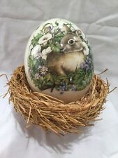 XL Hand Painted Porcelain Easter Egg Flowers & Rabbit Bunny In A Nest