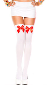 NWT sexy MUSIC LEGS opaque THIGH highs STOCKINGS w/bows PANTYHOSE nylons HOSIERY