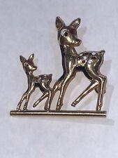14k Yellow Gold & Enamel Rain Estate Deer Brooch Pin