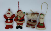 3 Santa's 1 Mrs Claus Plush Christmas Ornaments Cracker Barrel Handmade Lot of 4