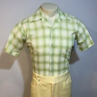Vtg 50s 60s SEARS Perma Prest Shirt Green PLAID Mid Century Rat Pack MENS SMALL