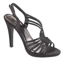 Anne Michelle L3389 Ladies Black Satin w/Diamante Heeled Sandals (R30B)(Kett)