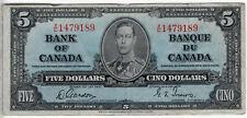 Bank of Canada 1937 $5 Five Dollars Gordon-Towers X/C Prefix VF King George VI