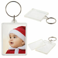 100pcs 45 X 35mm Acrylic Plastic Blank Keyrings Insert Photo Passport  Key Rings