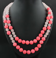 CORAL QUARZO Rosa Collar Total 450 Quilates Nuevo (5654)