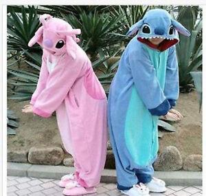 Adult /Stitch & Unisex Animal One Size Costume Jumpsuit Hoodie New blue #