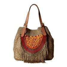 SAM EDELMAN Alexa Beaded Fringe Hobo Handbag Natural  (10 bx14) Orig $298