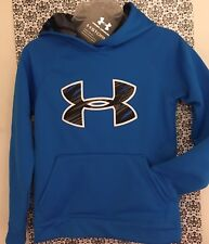 NEW Under Armour Storm Armour Fleece Big Logo Hoodie JET BLUE Boys Youth XS