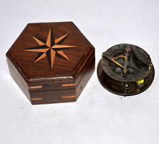 "Antique vintage brass 3"" sundial compass nautical with hexagon wooden box gift"