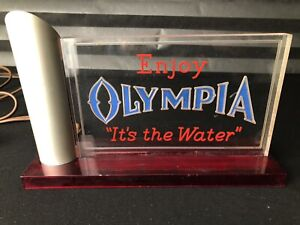 """Uncommon Acrylic  Vintage Olympia Beer Bar Back  Lighted Sign  """"It's The Water"""""""