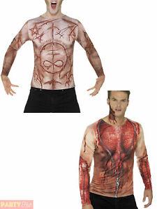 Mutilated Ripped Skin T-Shirt Cult Zombie Mens Halloween Fancy Dress Costume