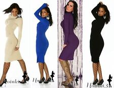 Polo Neck Patternless Long Jumpers & Cardigans for Women