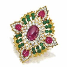 1.62ct NATURAL ROUND DIAMOND EMERALD RUBY 14k SOLID YELLOW GOLD COCKTAIL RING