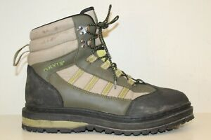 Orvis Mens Boots Sz 13 Lace Up Ankle Hiking Work Green Tan Black Leather Textile
