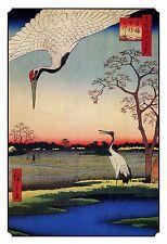 Japanese Woodblock Wall Art: Crane Birds in Wilderness Wetlands Decorative Print