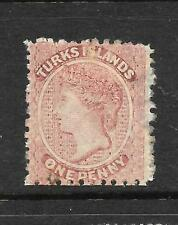 TURKS IS 1867  1d DULL ROSE QV  MNG SG 1