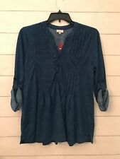 NWT Avenue Womens Plus 14 16 Dark Blue Speckled Pleated Pocket Button Blouse Top