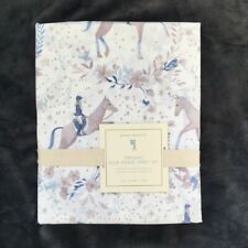 new Pottery Barn Kids Ellie Horse Organic Sheet Set twin Blue white