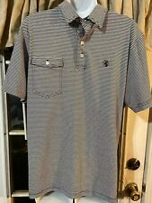 Southern Proper Men's Blue and White Golf Polo Shirt Size Medium Adult Sz M